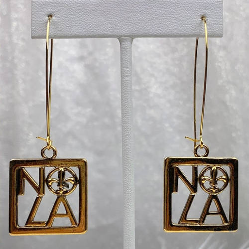NOLA Gold Square Fleur de Lis Charm Earring (Hanging display)