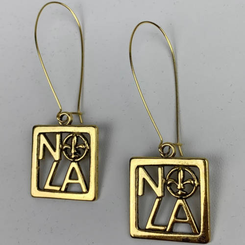 NOLA Gold Square Fleur de Lis Charm Earring (flat display)