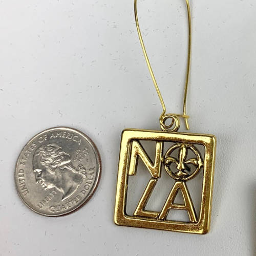 NOLA Gold Square Fleur de Lis Charm Earring (size display)