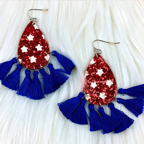 Patriotic Red White & Blue Star Tassel Earrings
