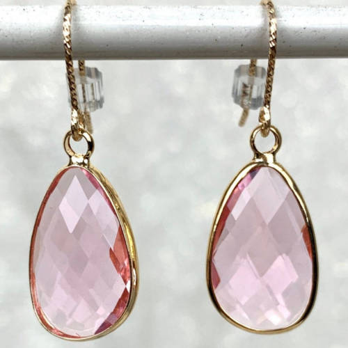 Pink Glass Gold Plated Teardrop Earrings (closeup display)