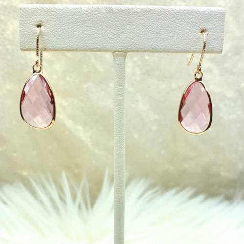 Pink Glass Gold Plated Teardrop Earrings (hanging display)