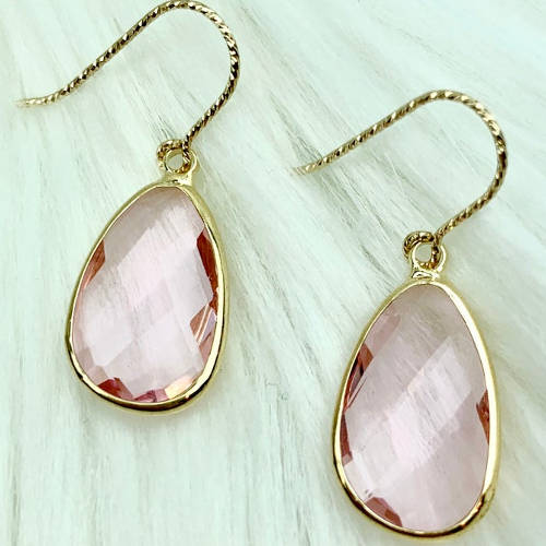 Pink Glass Gold Plated Teardrop Earrings (pillow display)
