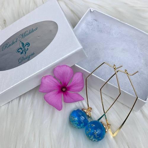 Pressed Flowers Triangular Hoop Earrings (Box Display)