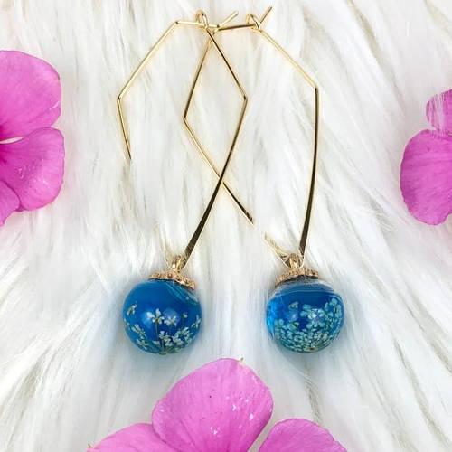 Pressed Flowers Triangular Hoop Earrings (Cobalt Blue Display)