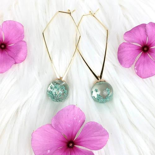 Pressed Flowers Triangular Hoop Earrings (Mint Green Display)