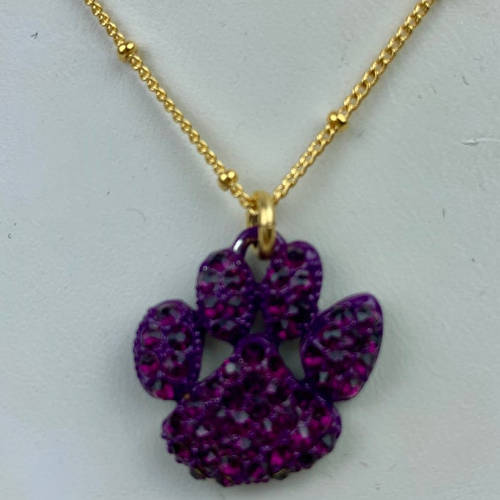 Purple Crystal Tiger Paw Necklace (Close up)
