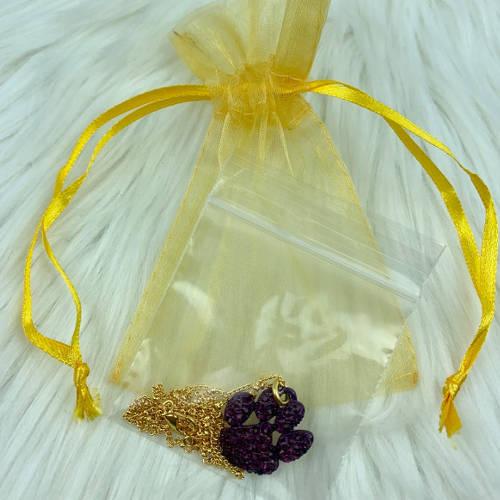 Purple Crystal Tiger Paw Necklace (bag display)