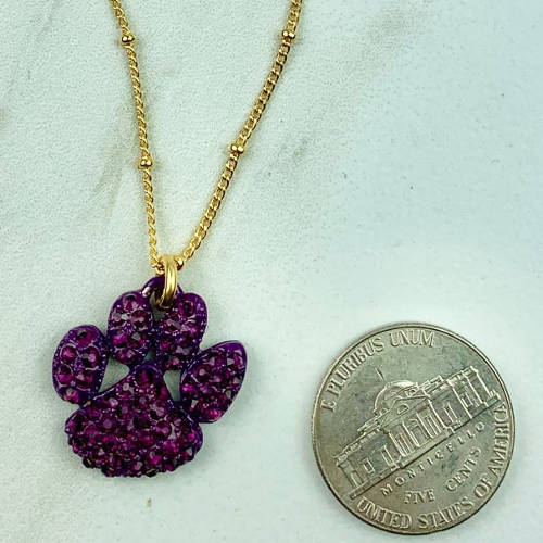 Purple Crystal Tiger Paw Necklace (size)