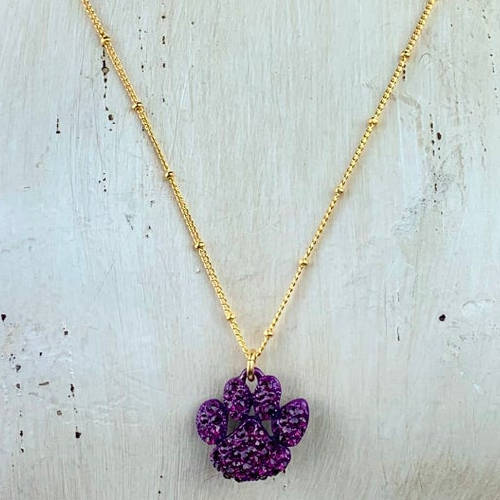 Purple Crystal Tiger Paw Necklace (white display)
