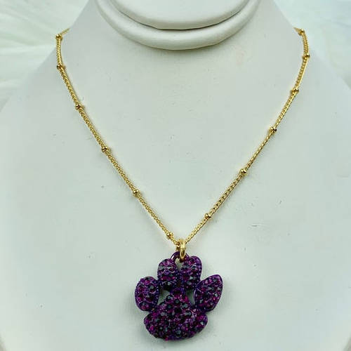 Purple Crystal Tiger Paw Necklace