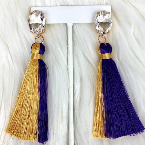 Purple & Gold Tassel Earrings (display)