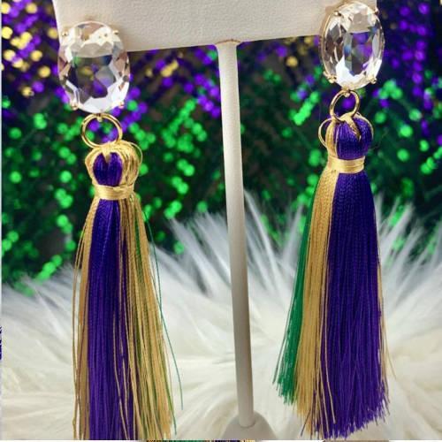 Purple Green & Gold Tassel Mardi Gras Earrings