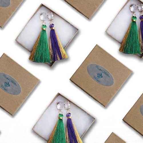 Purple Green & Gold Tassel Mardi Gras Earrings box