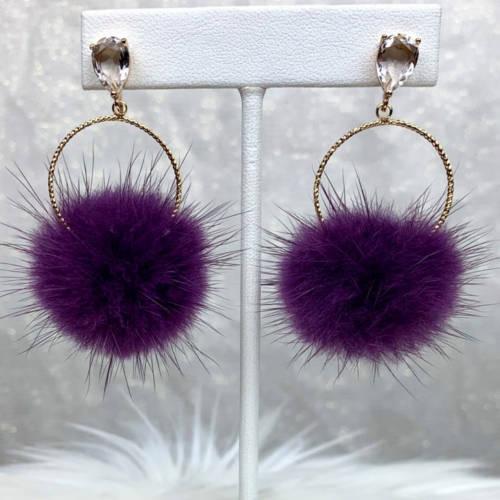 Purple Mink Furry Pompoms Earrings (Hanging Display)