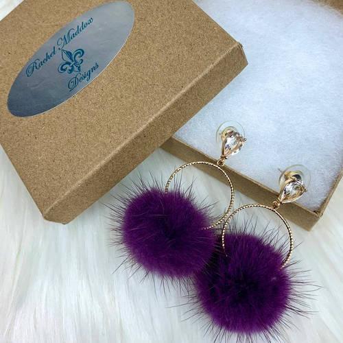 Purple Mink Furry Pompoms Earrings
