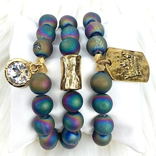 Rainbow Druzy Agate Beads, Stacking Bracelets