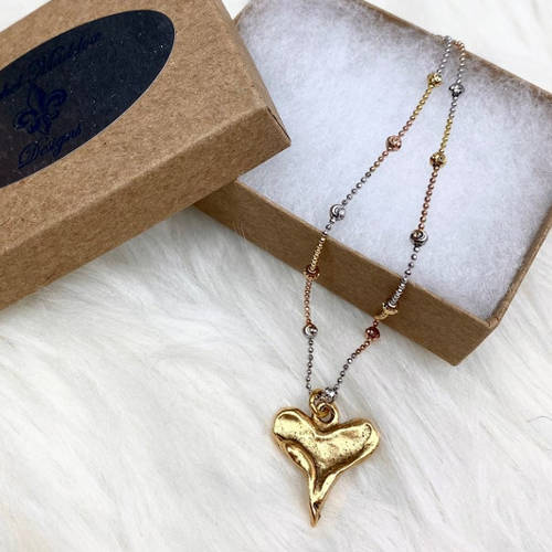 Rustic Heart Pendant Necklace (Tri Color with Box)