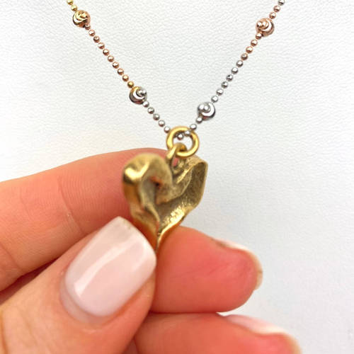 Rustic Heart Pendant Necklace (side)
