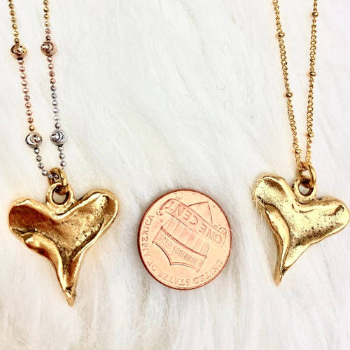 Rustic Heart Pendant Necklace (size)