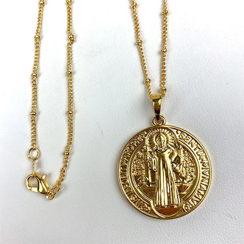 Double Sided St. Benedict Charm (With Chain)