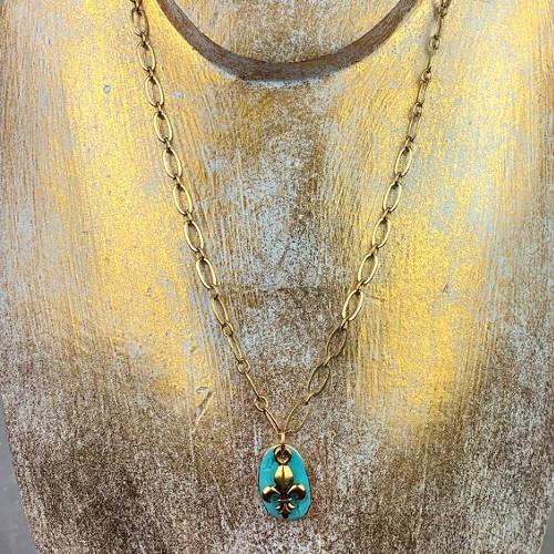 Turquoise Fleur de Lis Earrings Necklace Set (Bust Gold display)