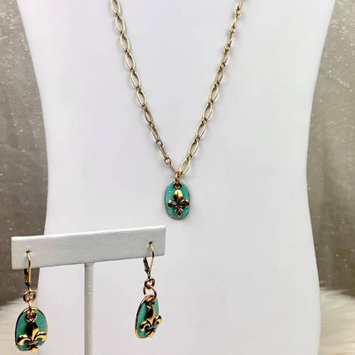 Turquoise Fleur de Lis Earrings Necklace Set (Bust display)