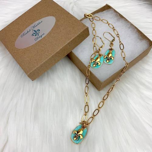 Turquoise Fleur de Lis Earrings Necklace Set (box display)