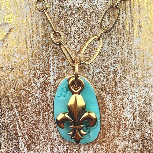 Turquoise Fleur de Lis Earrings Necklace Set (gold display)