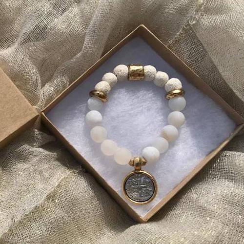 White Matte Druzy Agate Beads Essential Oil Bracelet (Box)