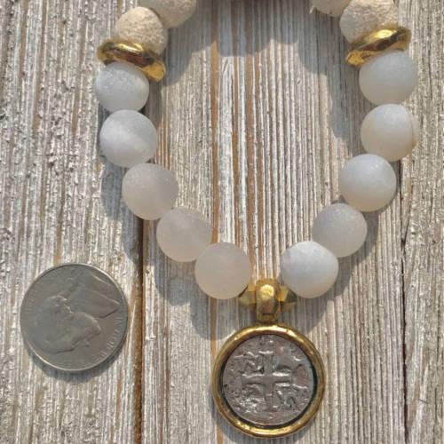 White Matte Druzy Agate Beads Essential Oil Bracelet (size)