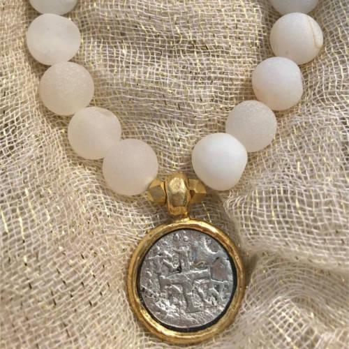 White Matte Druzy Agate Beads Essential Oil Bracelet