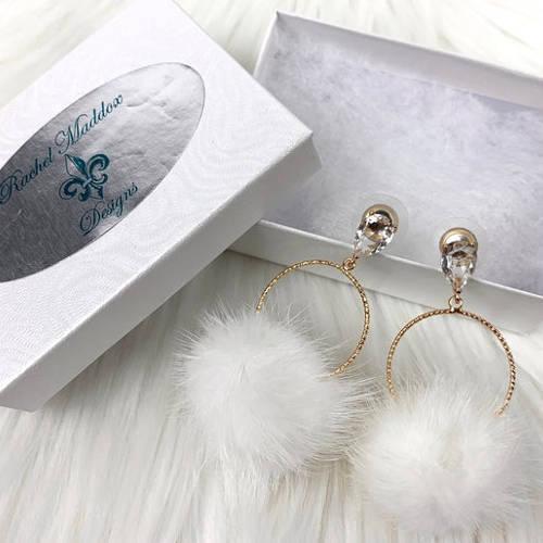 White Mink Furry Lightweight Pompoms Earrings (white box)