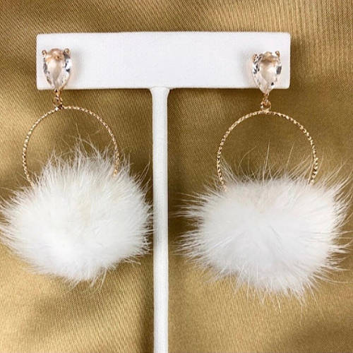 White Mink Furry Lightweight Pompoms Earrings