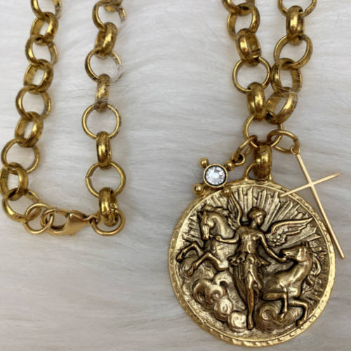 Antique Gold Plated Pewter Angel Horse Medal Pendant (chain)