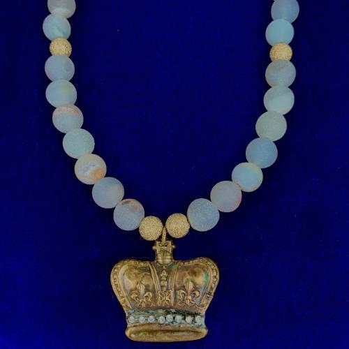 Crown Jewel Charm Necklace (Blue Display)