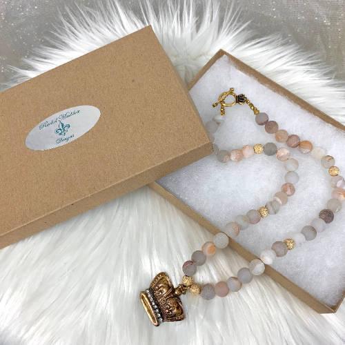 Crown Jewel Charm Necklace