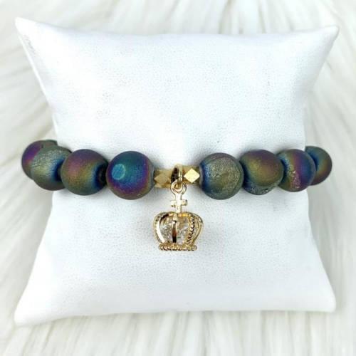 Gold Crown Rainbow Agate Beads Bracelet (Main)