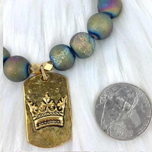 Hammered Crown Charm Tag Essential Oil Diffuser Bracelet (Main)
