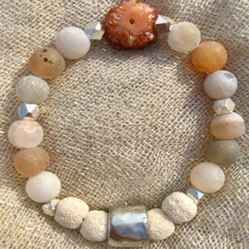 Red Matte Druzy Agate Beads Essential Oil Diffuser Bracelet