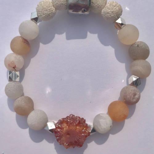 Red Matte Druzy Agate Beads Essential Oil Diffuser Bracelet (flat)