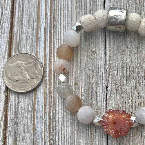 Red Matte Druzy Agate Beads Essential Oil Diffuser Bracelet (size)