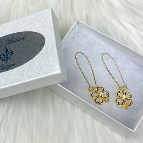 St. Patrick's Four Leaf Clover Earrings(Box)