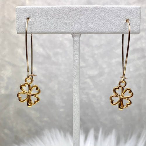 St. Patrick's Four Leaf Clover Earrings(Dangle View)