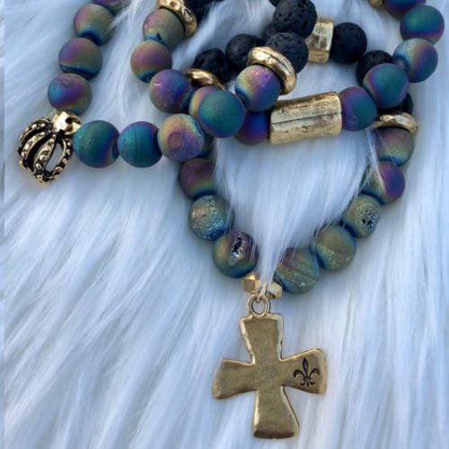 Set of Three Rainbow Cross and crown (pillow)