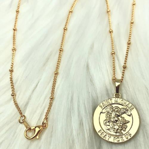 Saint Michael Round Coin Medallion (Chain Detail)