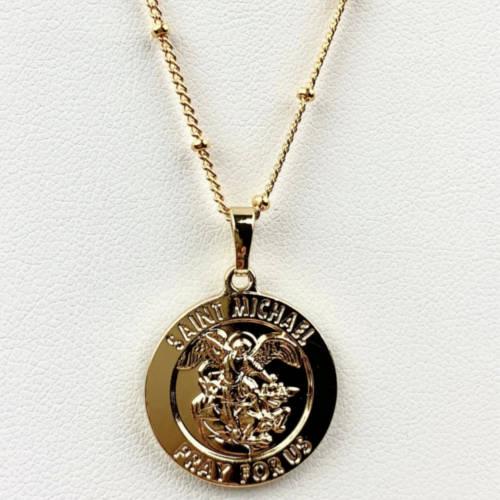 Saint Michael Round Coin Medallion (Detail View 2)