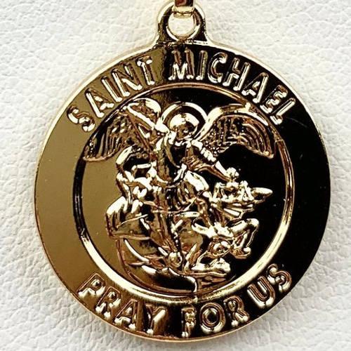 Saint Michael Round Coin Medallion (Detail View)