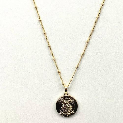 Saint Michael Round Coin Medallion (Size Detail 2)