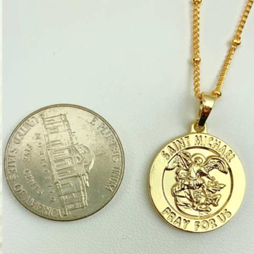 Saint Michael Round Coin Medallion (Size Detail)